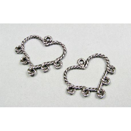 "Distributor ""Heart"", aged silver color, 5 loops 34x29 mm"