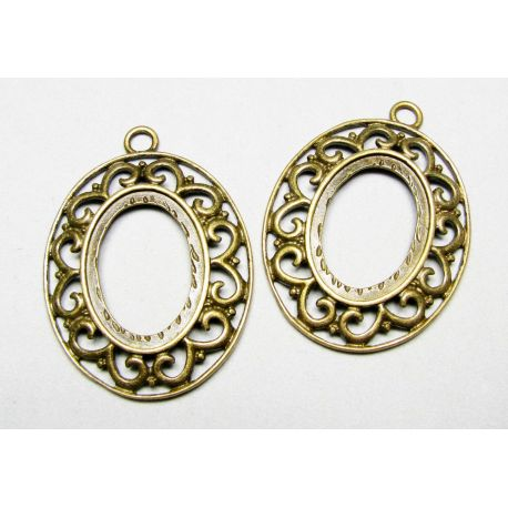 Frame - for cabochon or camouflage aged bronze, oval 51x38 mm