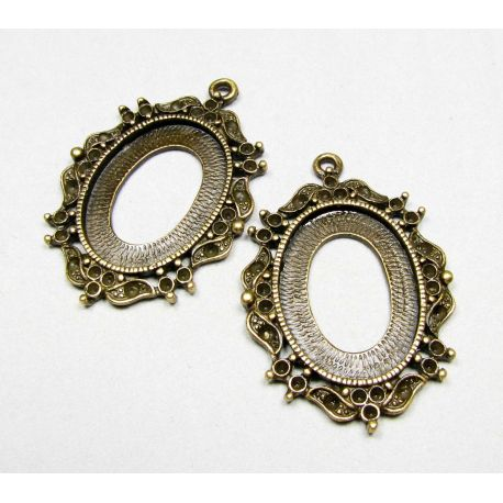 Frame - for cabochon or camouflage aged bronze, oval 42x29 mm