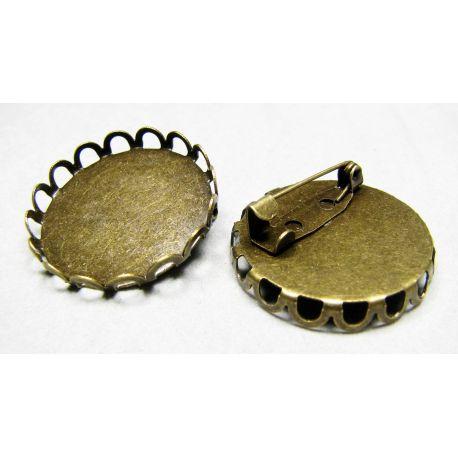 Rėmėlis - sagė kabošonui ar kamėjai, sendintos bronzinės spvalvos, 27 mm