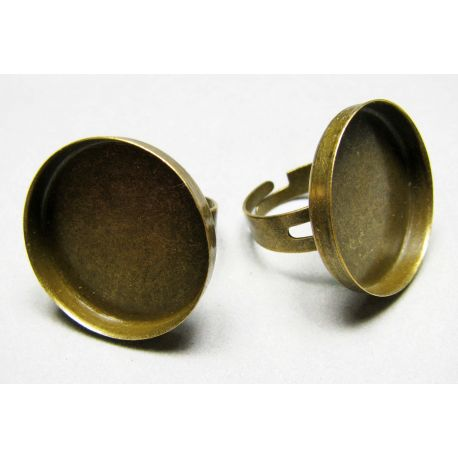 Ring base for cabochon 25 mm, aged bronze, adjustable size