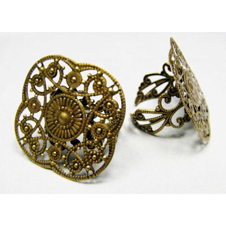 Ring base with openwork plate, aged bronze, 29 mm