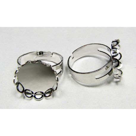 Ring base for cabochon 15 mm, silver color, adjustable size