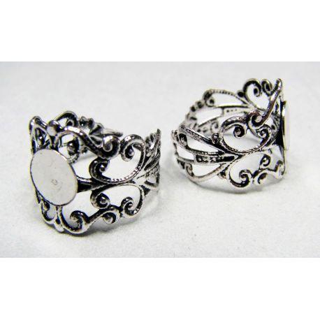 Žiedo pagrindas kabošonui 8 mm, sidabro spalvos, reguliuojamas dydis