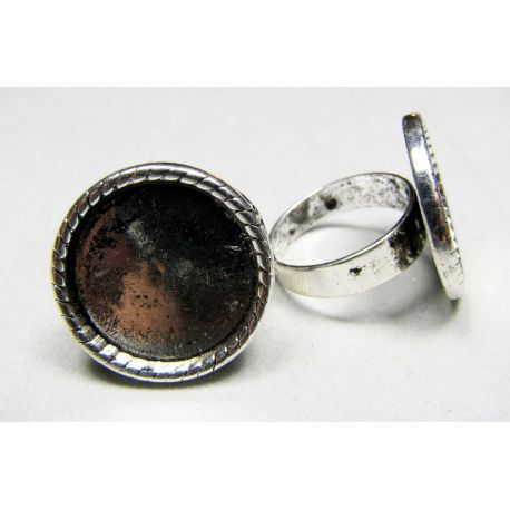 Ring base for cabochon 18 mm, silver color, adjustable size