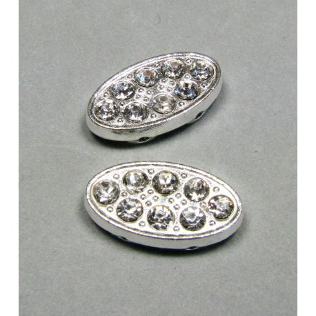 Inset, silver encrusted with white apertures 20x10 mm