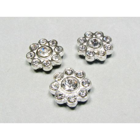 Insert flower, silver encrusted with white apertures 15 mm