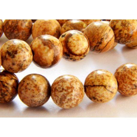 Jaspio beads light brown round shape 6mm
