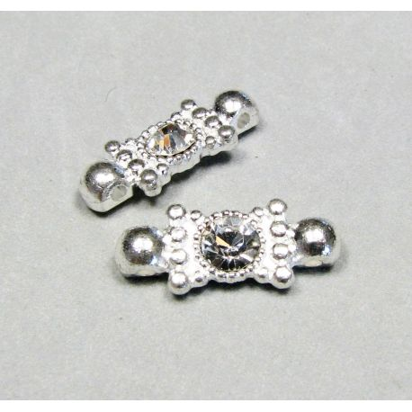 Inset, silver encrusted with white apertures 19x8 mm