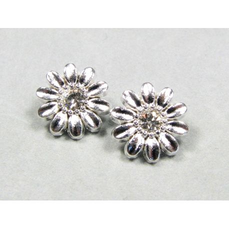 """""""Flower"""" insert, silver encrusted with white apertures 12 mm"""