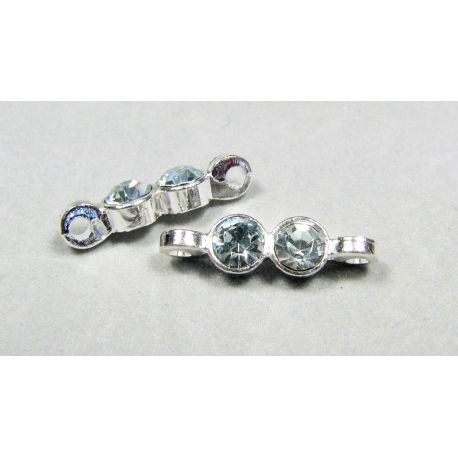 Insertion, silver encrusted with green apertures 21x5 mm