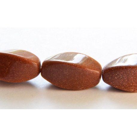 Sunstone Beads Brown Glossy Ribbed Elongated Shape 8x16mm