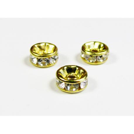Ar iespiestu zeltu, kas apvilkts ar baltiem atvērumiem 6 mm
