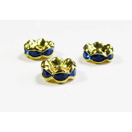 Insert silver encrusted with blue apertures 8 mm