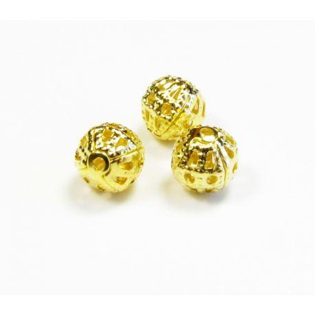 Intarpas skirtas papuošalų gamybai aukso spalvos apvalios formos 6 mm
