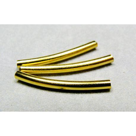 Intarpas skirtas papuošalų gamybai aukso spalvos vamzdelio formos 20x2 mm