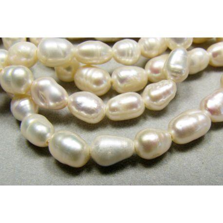 Dabiskas saldūdens pērles balto rīsu forma 5-8 mm