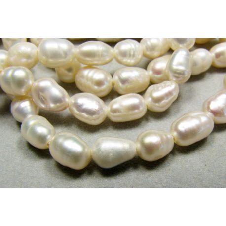 Natural freshwater pearls white rice shape 5-8 mm