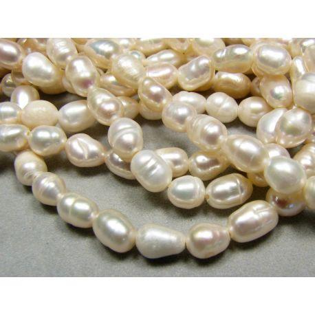 Natūralūs gėlavandenių perlų gija baltos spalvos ryžio formos 5-8 mm