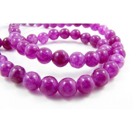 Nefrito karoliukai purpurinės spalvos ,apvalios formos 6 mm