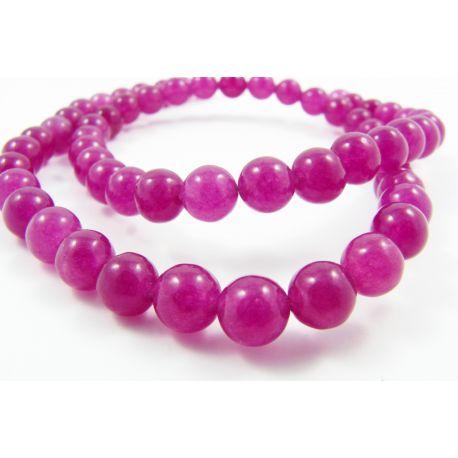 Nefrito karoliukai purpurinės spalvos, vienodo tono, apvalios formos 6 mm