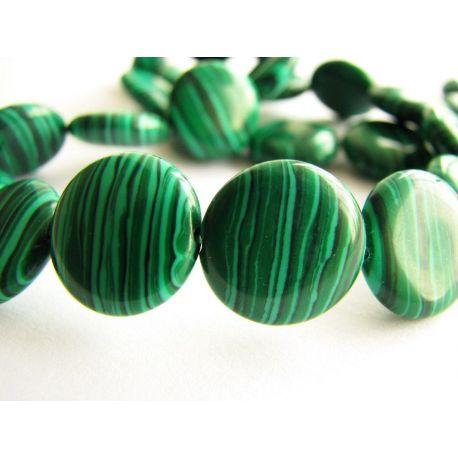 Malachito karoliukai tamsiai žalios spalvos su juodomis juostelėmis monetos formos 14mm