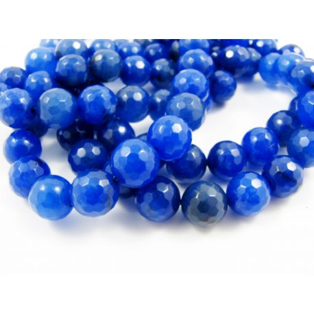Sapphire Beads Blue Ribbed Round Shape 8mm