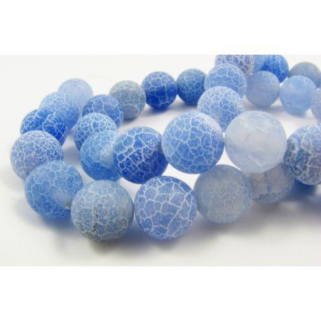 Agate beads, bluish, round shape, size 9 - 10 mm