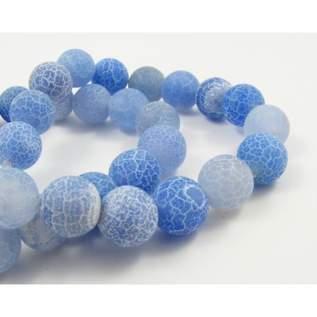 Agate beads, bluish, round shaped, size 8 mm
