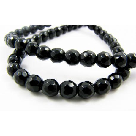 Agate beads, black, round shape 6 mm