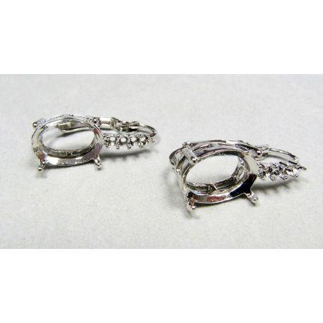 Kabliukai skirti auskarų gamybai, variniai sidabro spalvos 24x9 mm