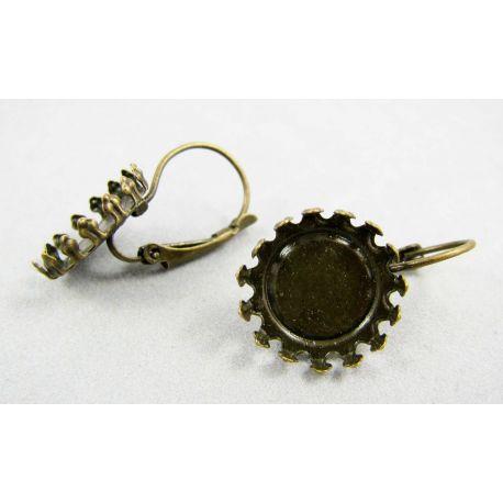 Kabliukai skirti auskarų gamybai, variniai, sendintos bronzinės spalvos, 25x15 mm