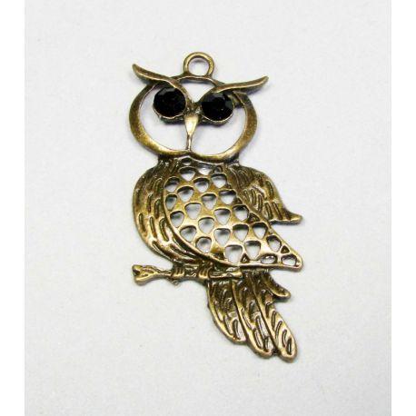 Owl pendant, aged bronze, 52x28 mm