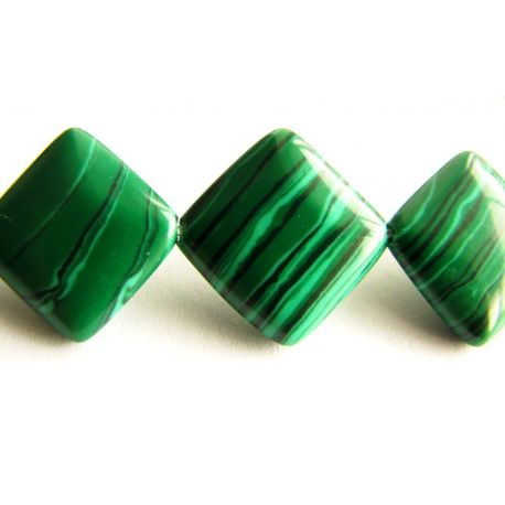 Malachito beads dark green with black stripes diamond shape 12x12mm