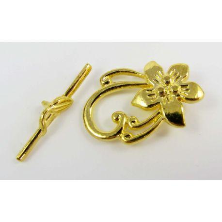 Vėrinio užsegimas su lazdele, aukso spalvos, 30x20 mm
