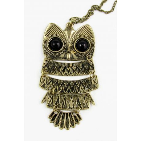 Owl pendant with chain, aged bronze color 86x44 mm