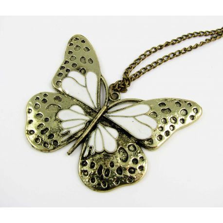 Butterfly pendant with chain, aged bronze color 49x56 mm