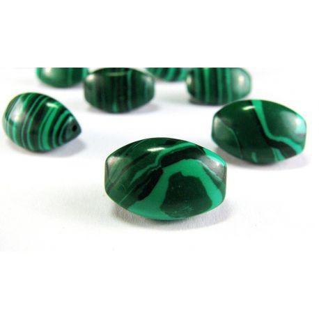 Malachito karoliukai žalios spalvos su juodomis juostelėmis pailgos formos trijų briaunų 8x16mm