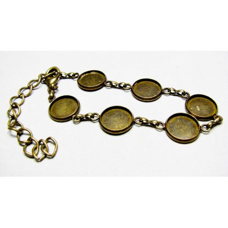 Workpiece for bracelet, aged bronze, 18 cm long