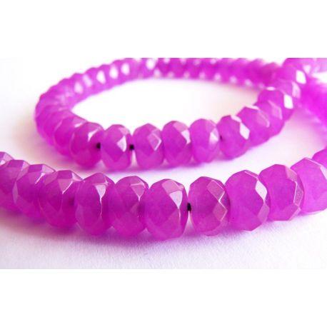Nefrito karoliukai purpurinės spalvos briaunuoti rondelės formos 5x8mm