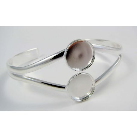 Brass bracelet for cabochons, silver color, size app about 17 cm