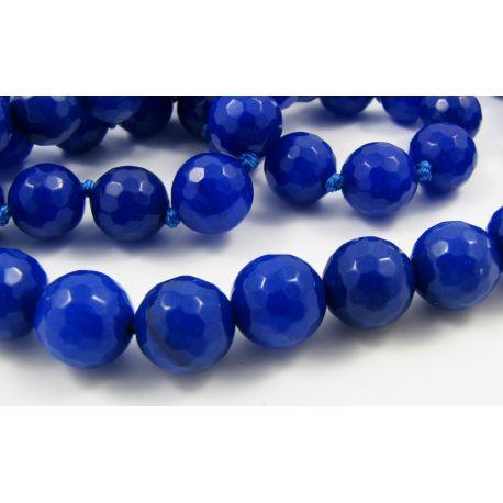 Safīra akmens pērlītes, zilas, 8 mm