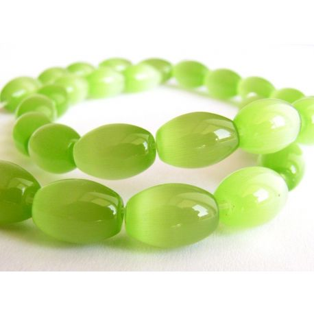 Cat Eye Beads Green Rice Shape 8x12mm