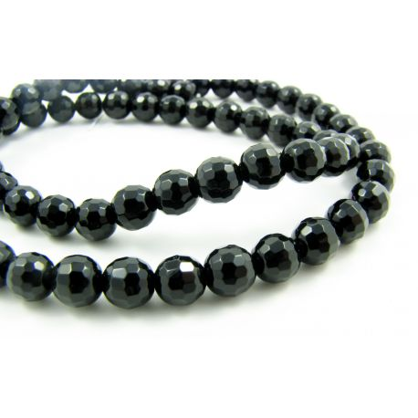 Agate beads, black, round shape 8 mm