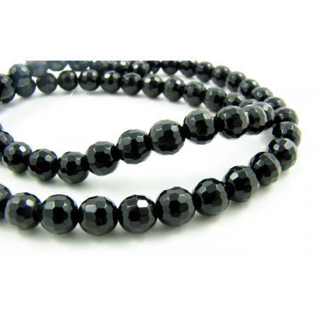 Agato karoliukai, juodos spalvos, apvalios formos 8 mm