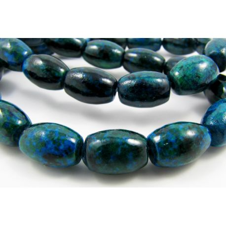 Azurite chrysococal beads dark green color 12x8 mm