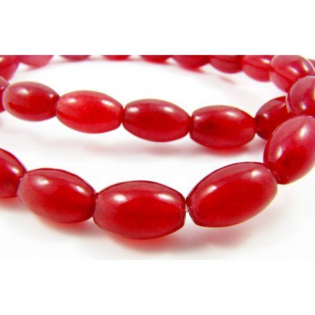 Rubino karoliukai raudonos spalvos, ryžio formos 12x8 mm