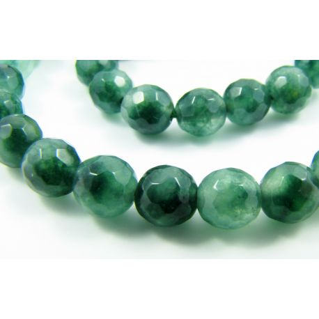 Emerald beads green ribbed round shape 6 mm