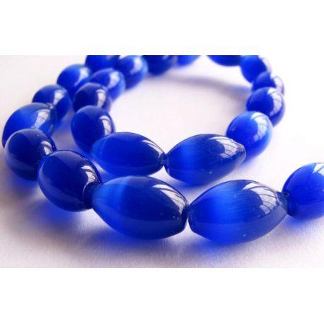Kaķu acu akmens krelles zilā krāsā 8x12mm