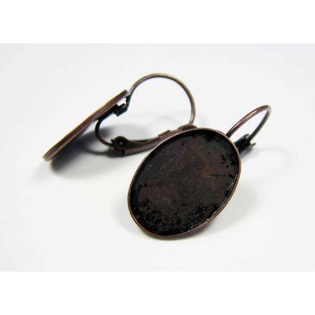 Kabliukai skirti auskarų gamybai, žalvariniai, galima įklijuoti kabošoną, 18x5 mm